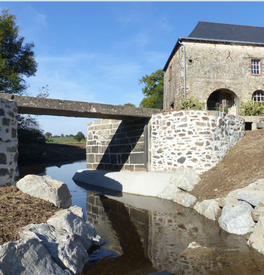 Moulin Colin - aménagement de l'ouvrage - Bassin de l'Oudon - septembre 2018